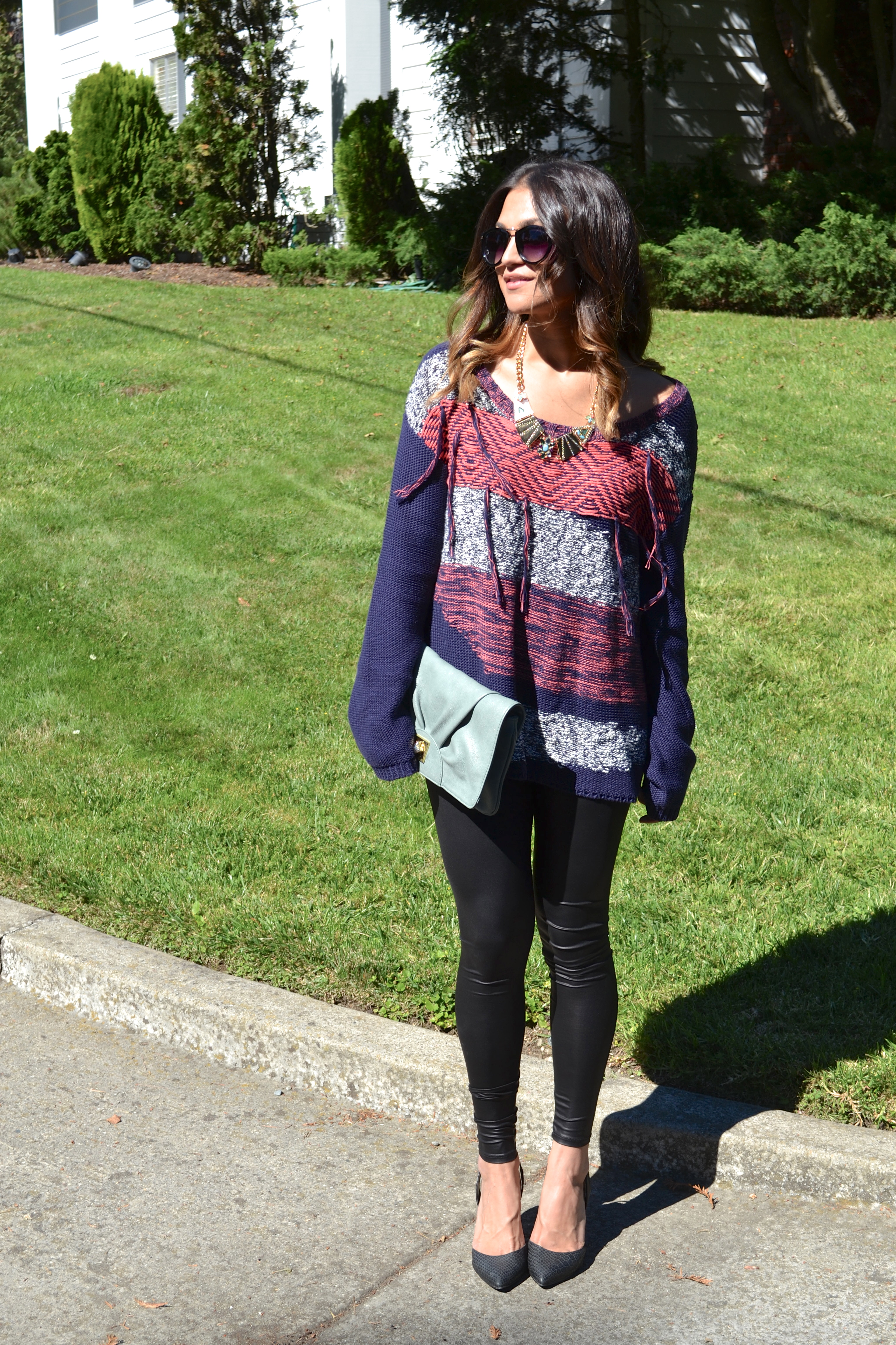 baggy fall sweaters leather leggings