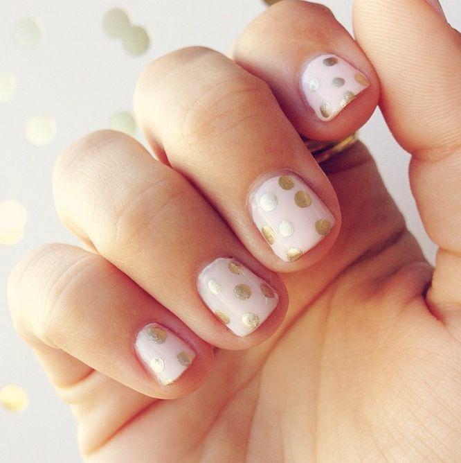 polka dot metallic nails