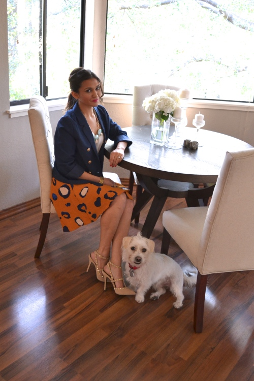phillip lim skirt // navy blue blazer // dining room // puppy dog