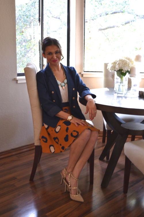 phillip lim skirt // navy blue blazer // dining room