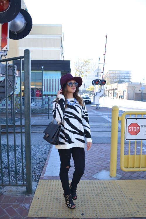 zebra sweater // burgundy hat // chanel bag // sunnies