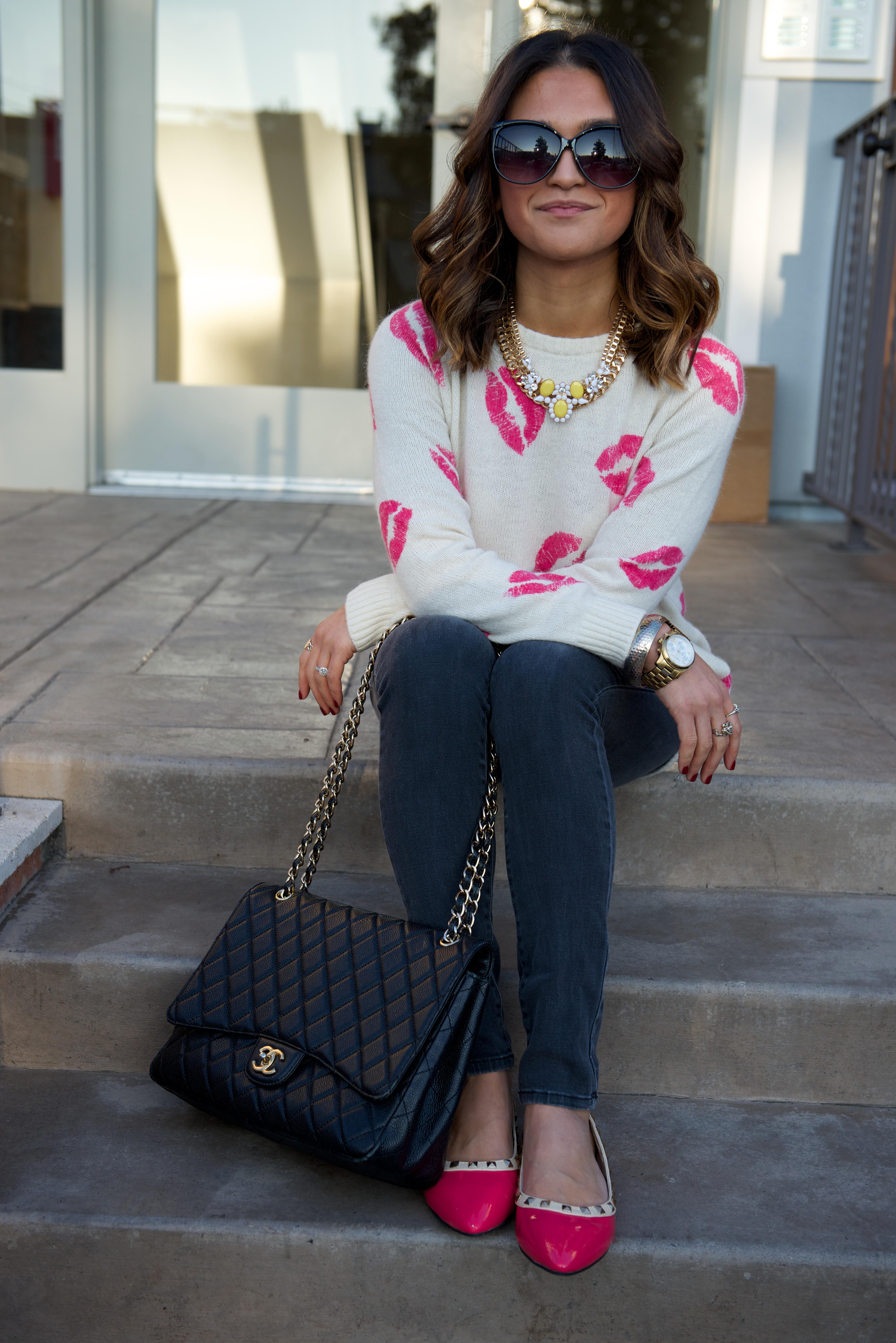 kiss kiss sweater + skinnies + studded pink flats